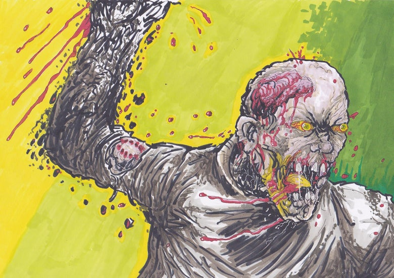 Image of Zombie Rage Colour Art Print