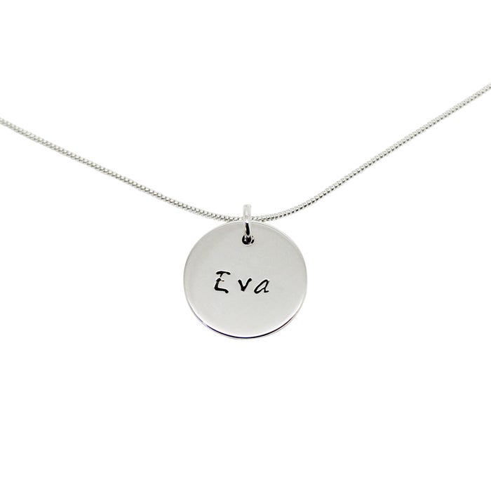 Image of Personalised Sterling Silver Small Circle Necklace