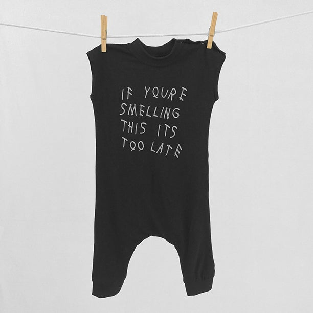 "Image of ""If You're Smelling This Its Too Late"" Black Bodysuit"