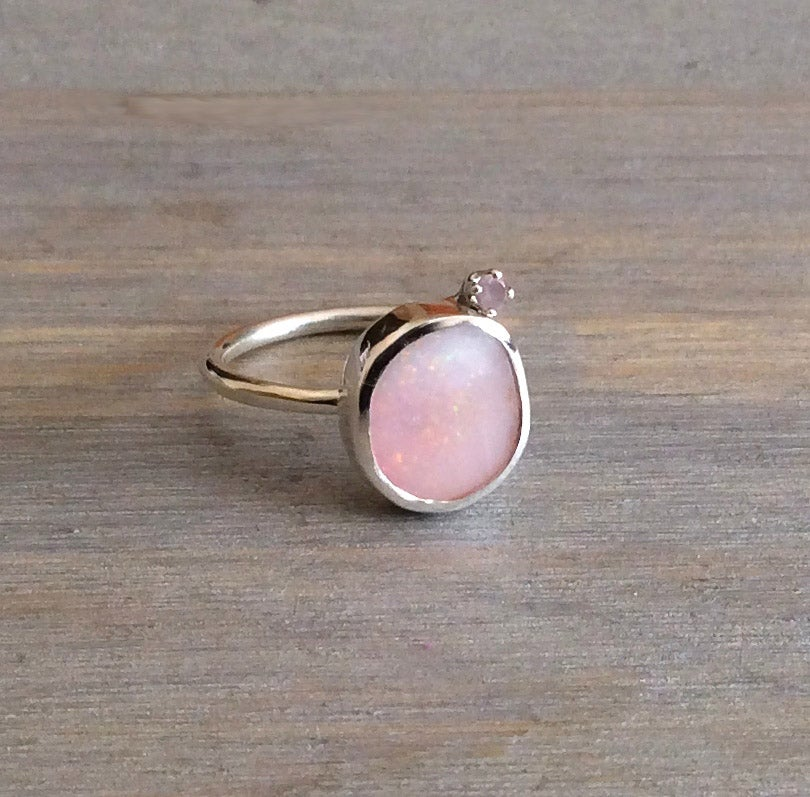 Image of Opal and Rose Quartz Ring - Size 4.75 - 5.25 - Idaho Pink Opal Ring - Sterling Silver
