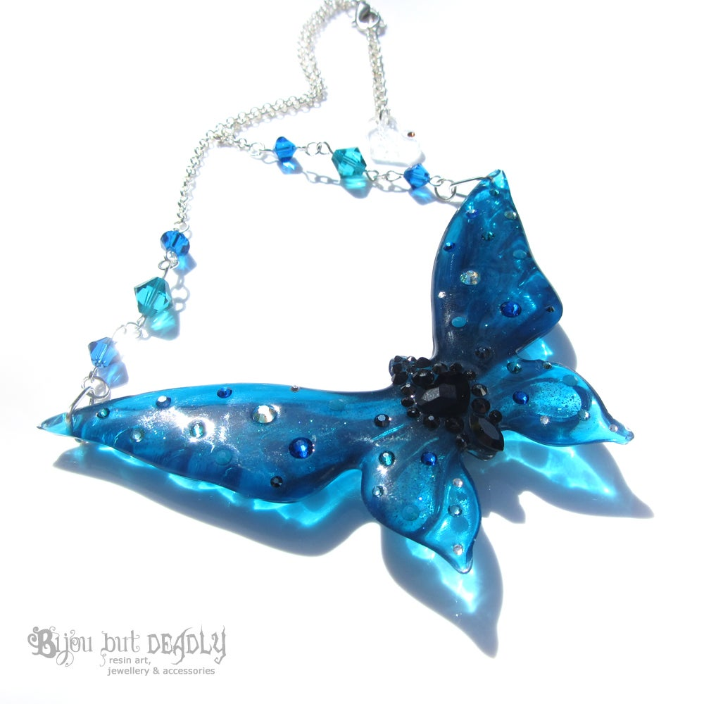 Image of Teal & Capri Blue Butterfly Necklace - Large
