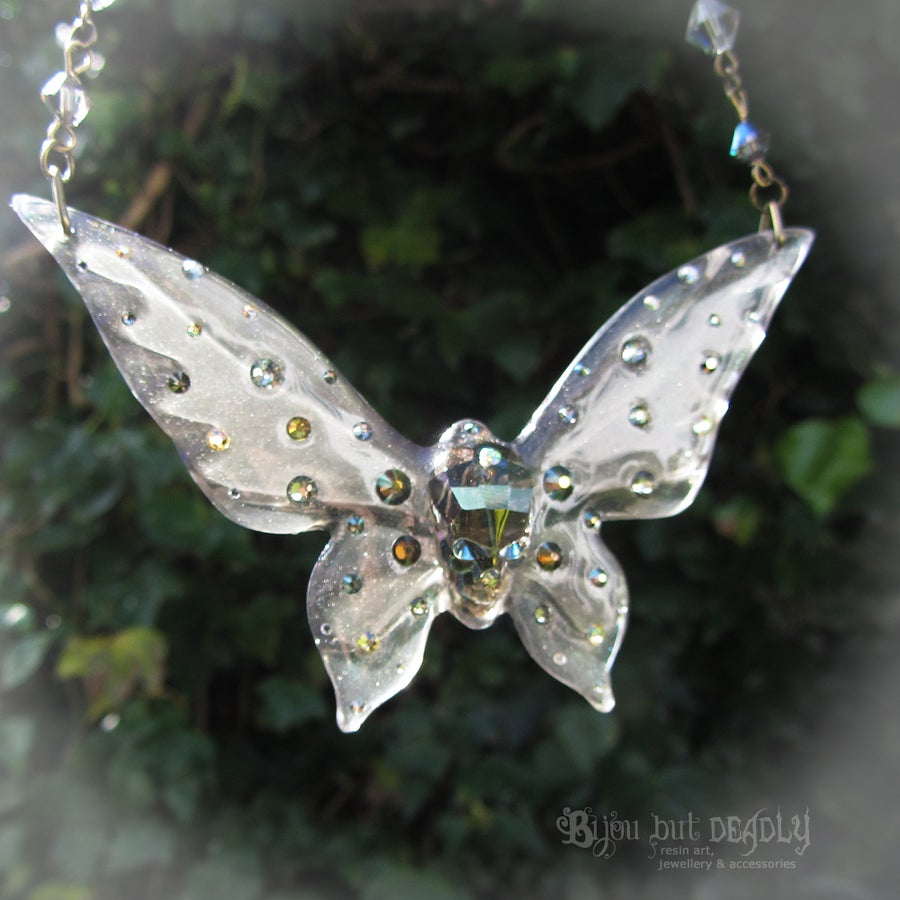 Image of Ghost Skull Butterfly Necklace - Large