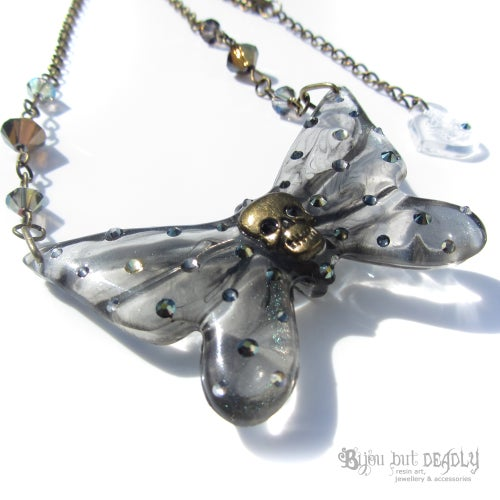 Image of Ghost Skull Butterfly Necklace - Small
