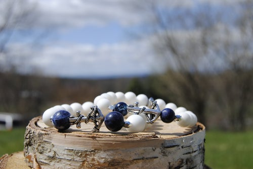 Image of 💑Couples Alabaster and Sodalite Anchor Bracelet set