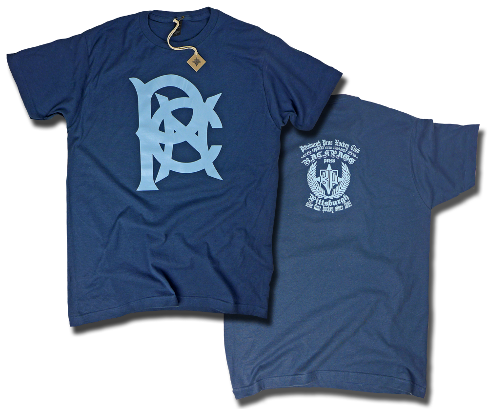 "Image of ""Pittsburgh Professional Hockey Club"" aka Pittsburgh Pro's custom hockey tee by Backpage Press"