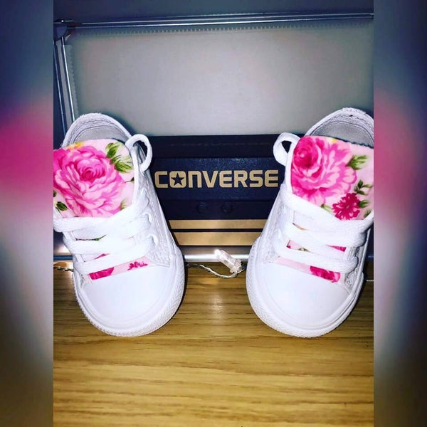 Image of Infant Pink Floral Customised Converse
