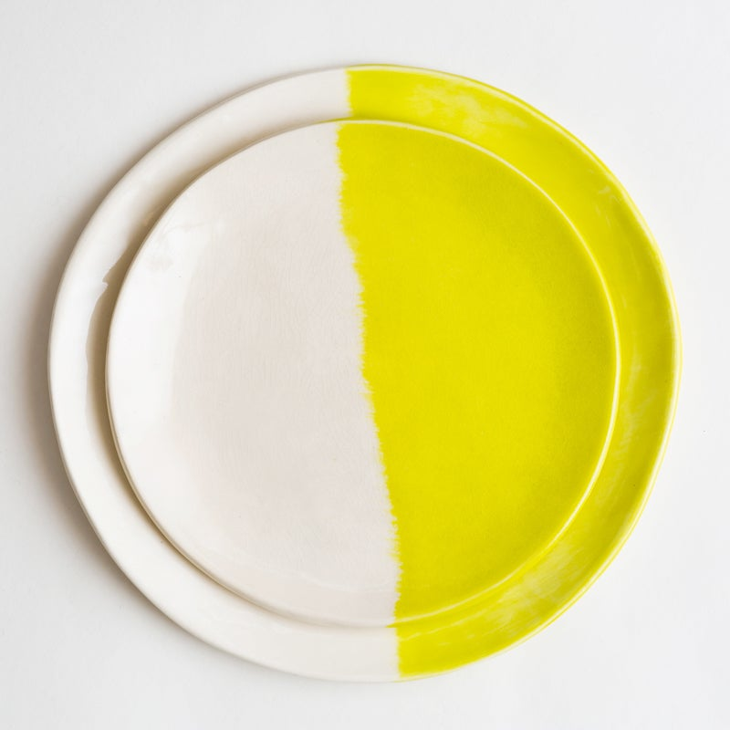 Image of Chartreuse Ceramic  Dinner & Salad Plate Set