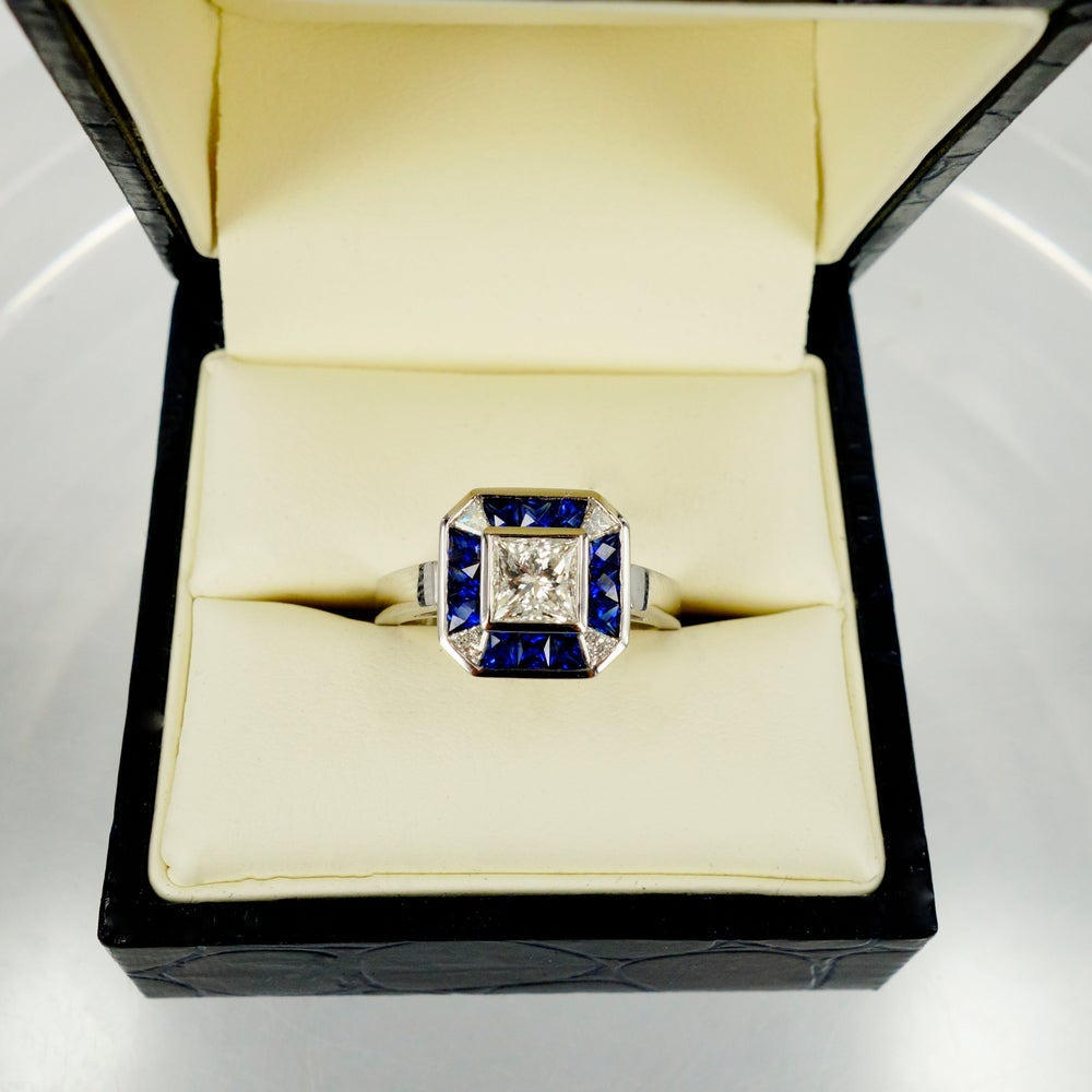 Image of 18ct White Gold Art Deco Engagement Ring.