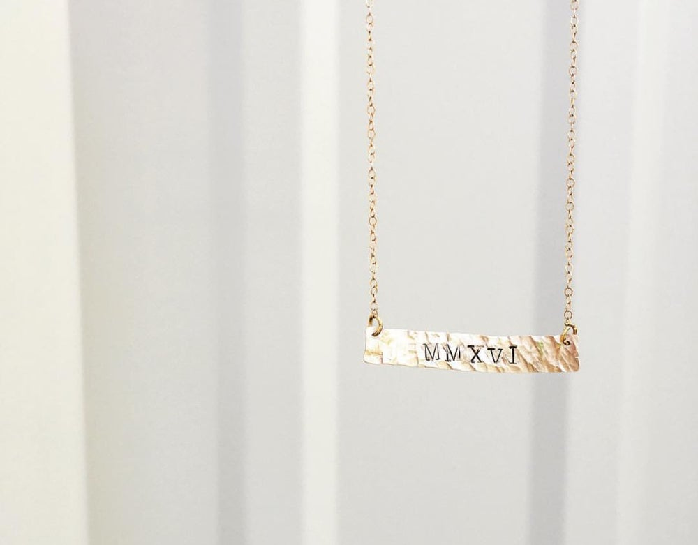 Image of custom large gold filled bar necklace