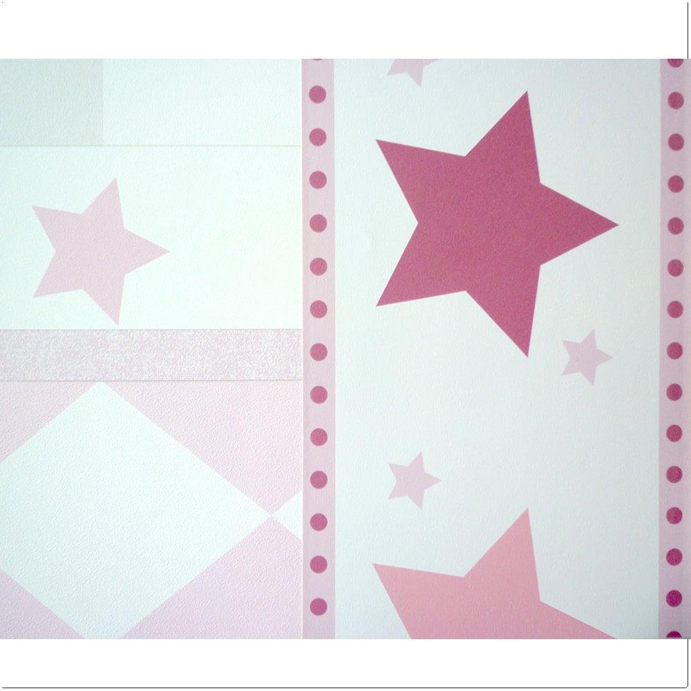 Coccolihome papel pintado para pared stars pink con cenefa for Papel pintado estrellas