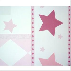 "Image of Papel Pintado para Pared ""Stars Pink"" con Cenefa"