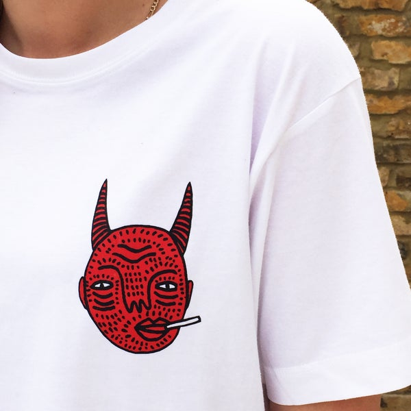 Image of White Devil Head T-shirt (Unisex)- By Polly Nor