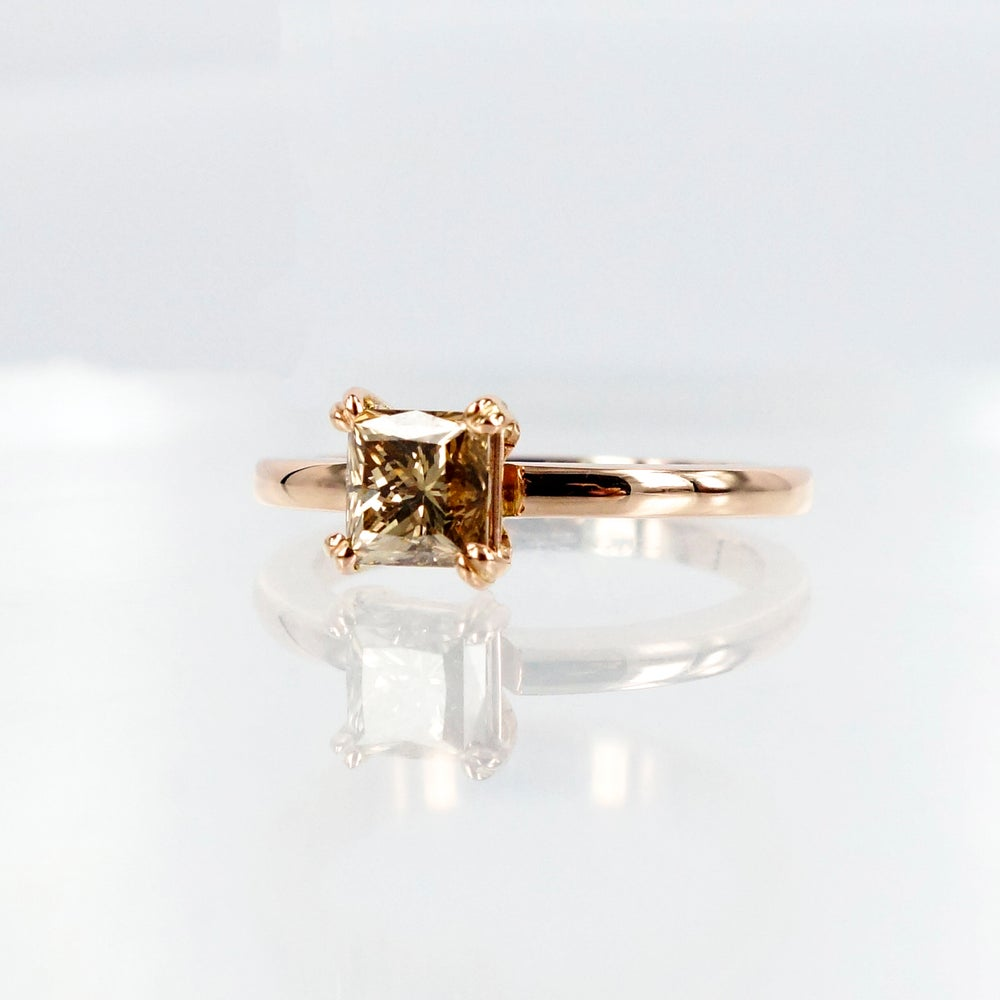 Image of 18ct Rose Gold Champagne Diamond Solitaire Ring