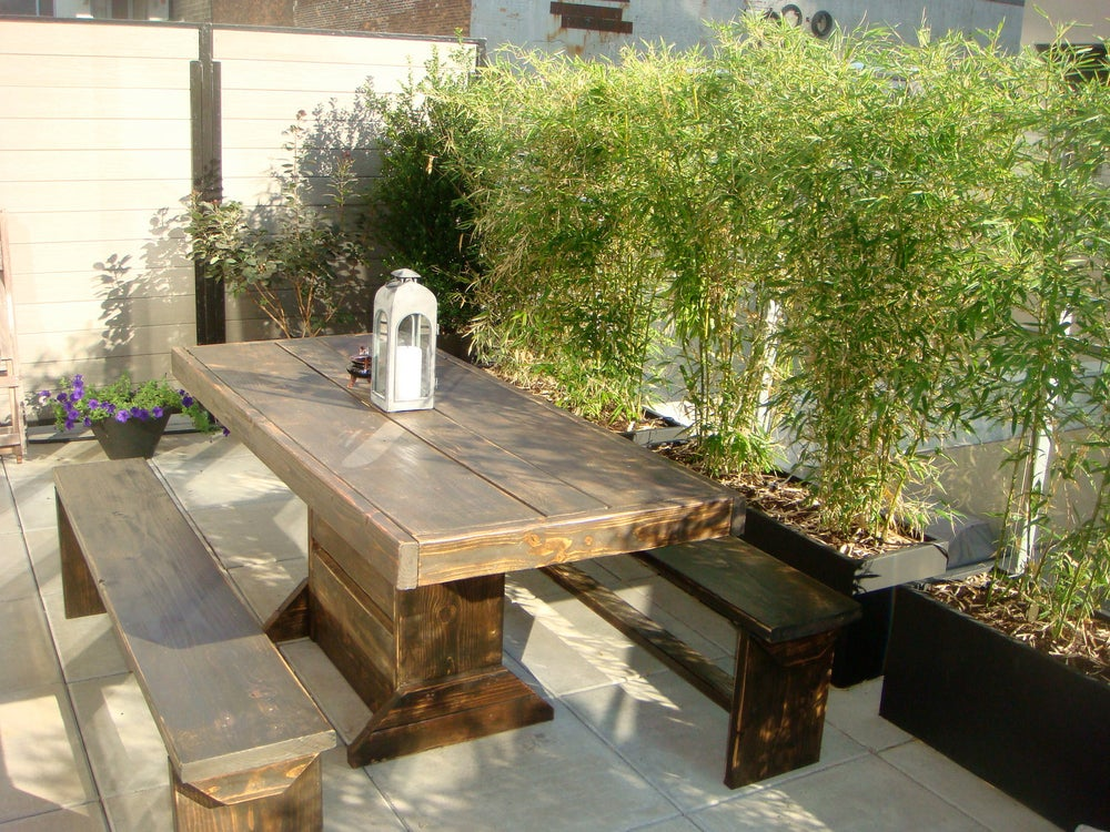 Image of 4' PATIO SET / OUTDOOR DINING TABLE WITH BENCHES