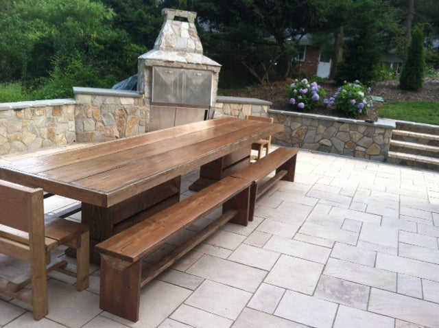 Image of 9' PATIO SET / OUTDOOR DINING TABLE WITH BENCHES
