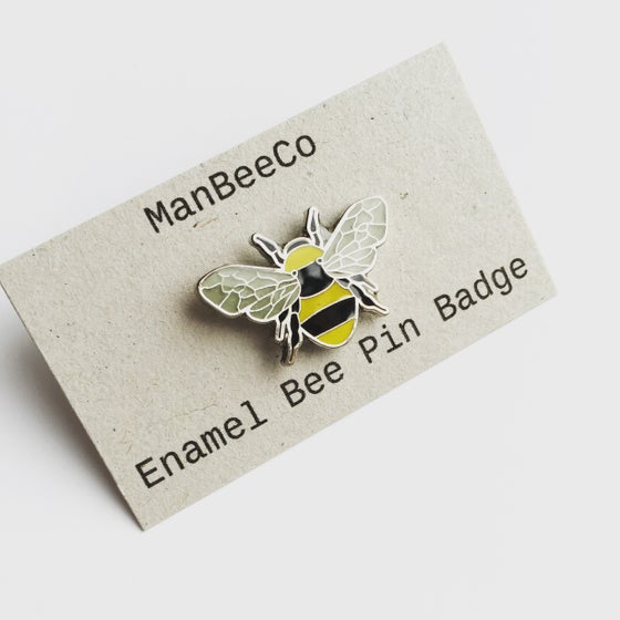 Image of Manchester Bee Beekeeper Enamel Pin Badge Brooch