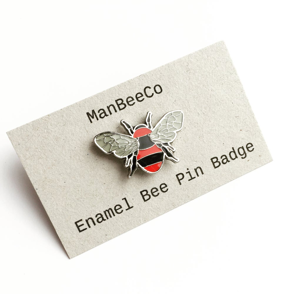 Image of Manchester Bee enamel pin badge in Red