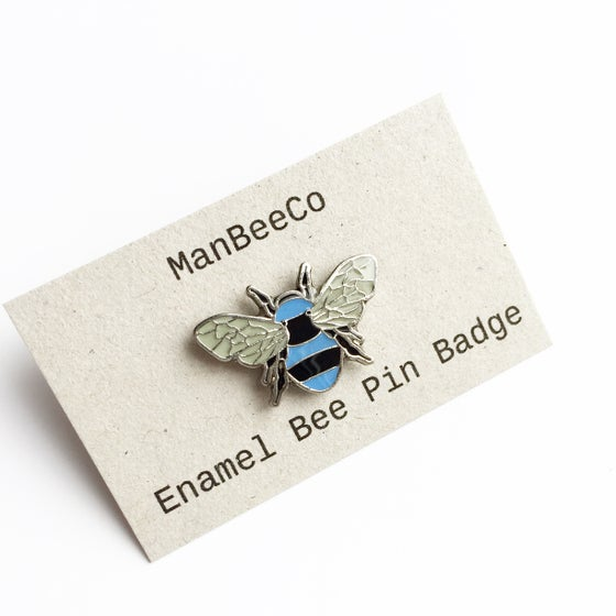 Image of Manchester Bee Enamel pin badge in Blue