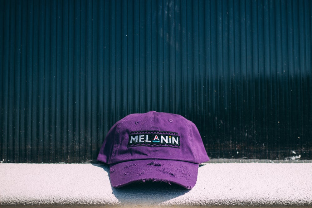 "Image of ""Martin"" Purple Melanin distressed hat"