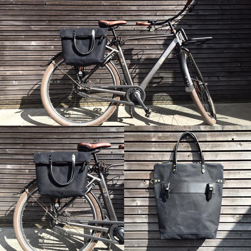 Image Of Bike Pannier Bicycle Bag In Waxed Canvas With Zipper Closure Accessories