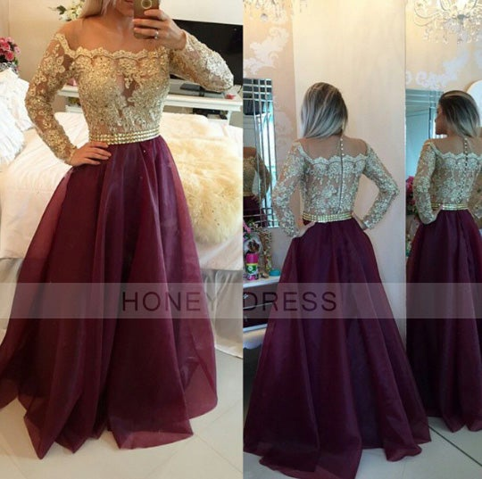 Image of Burgundy Off The Shoulder Long Sleeves Prom Gown With Sheer Lace Appliques Top