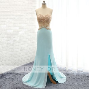 Image of 2016 New Arrival Mint Chiffon Lace Appliques Slit Evening Gown With Cuts Out