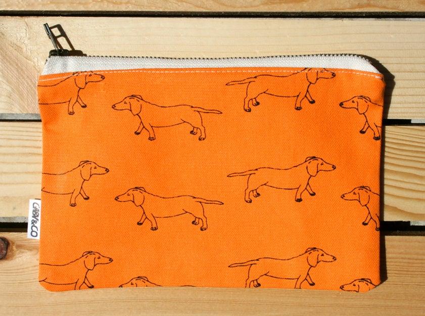 Image of Gaby&Co Orange Handmade Canvas Dachshund Zip Bag