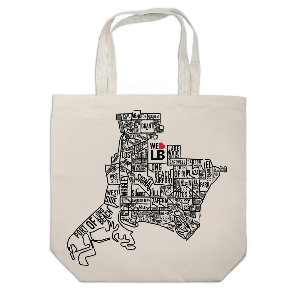 image of neighborhood map tote. neighborhood map tote  we love lb