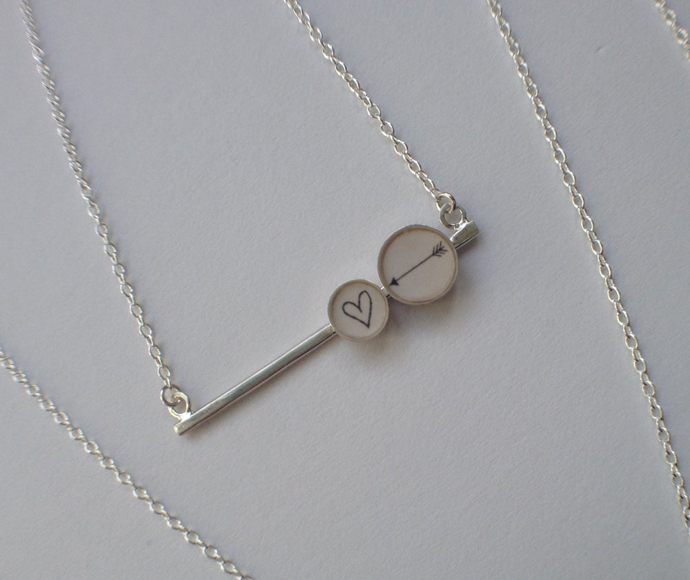 Image of Heart & Arrow Bar Necklace
