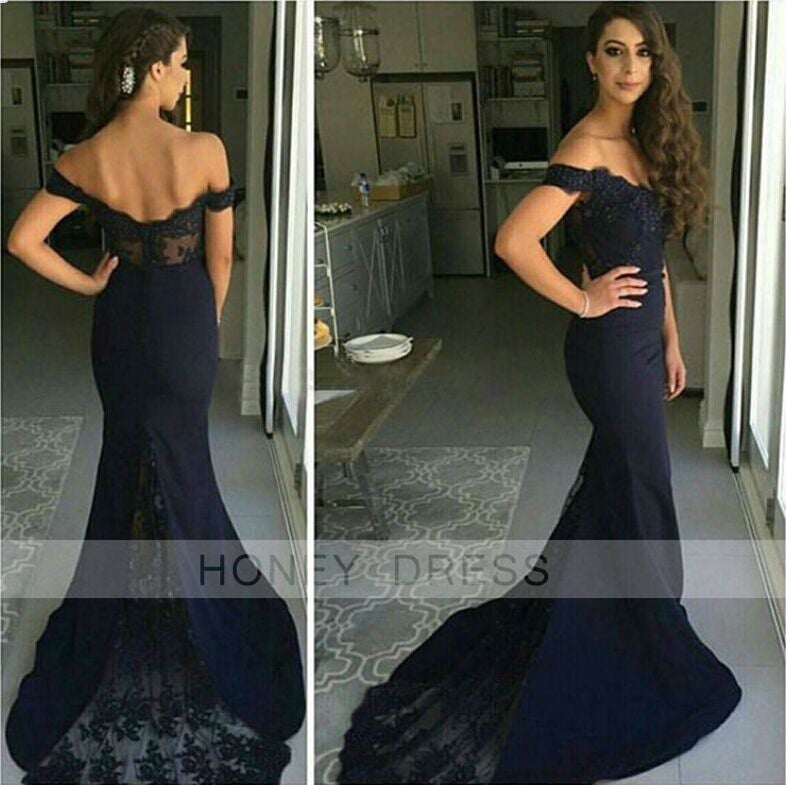 Image of New Arrival Black Lace Spandex Fabric Mermaid Sweep Train Prom Dress With Off The Shouler