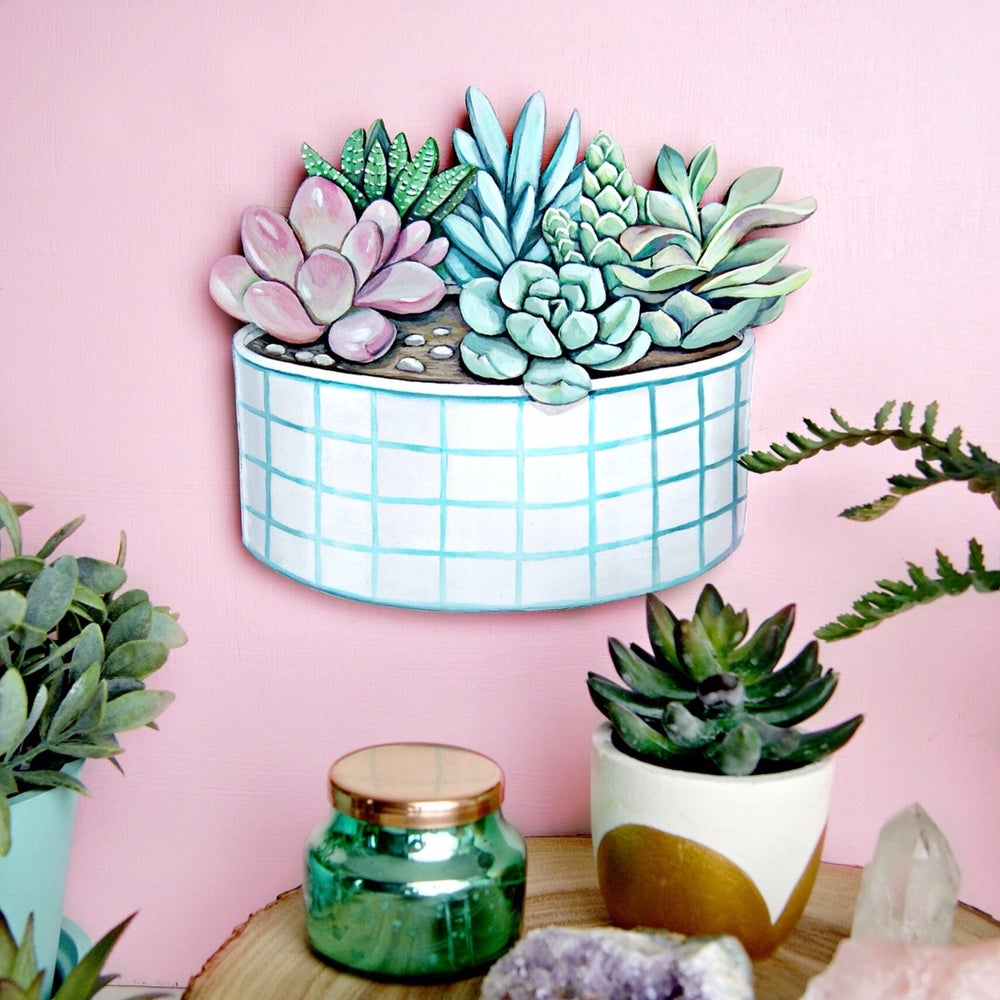 Image of Potted Succulent Garden die cut (wood plaque)