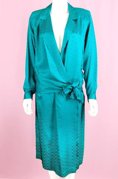 Image of 90'S LIZ CLAIBORNE TURQUOISE V-NECK SILK WRAP DRESS