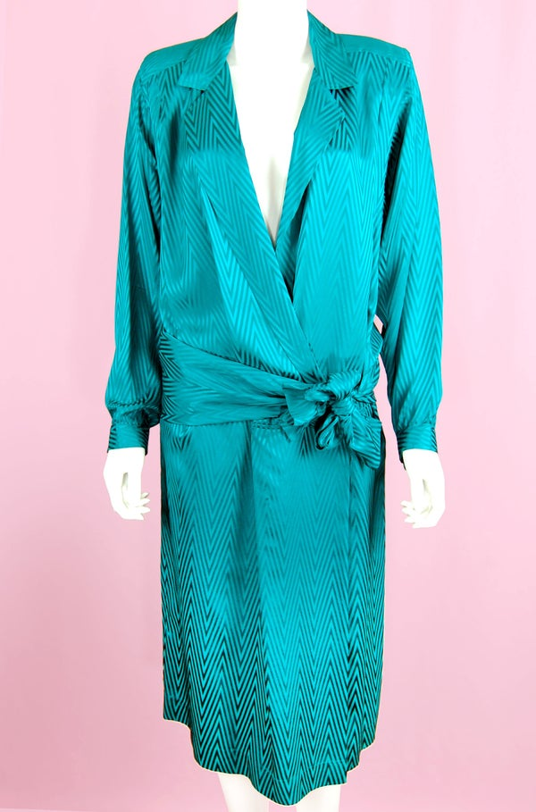Image of 90'S LIZ CLAIBORNE TURQUOISE V-NECK SILK WRAP DRESS SIZE 12