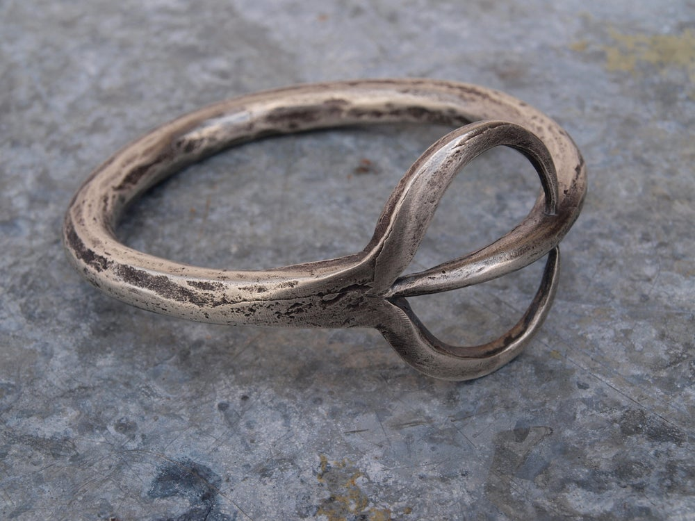Image of THE KHALEESI BANGLE 'FORKED TONGUE' STERLING SILVER/BRONZE