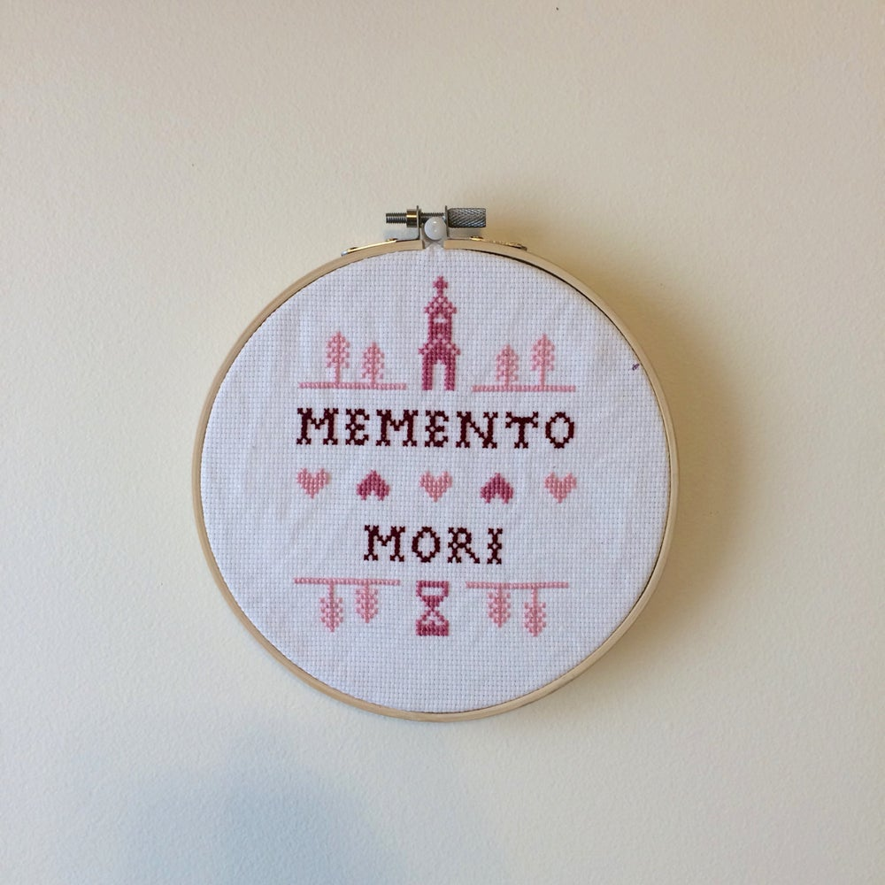 Image of MEMENTO MORI CROSS STITCH SAMPLER
