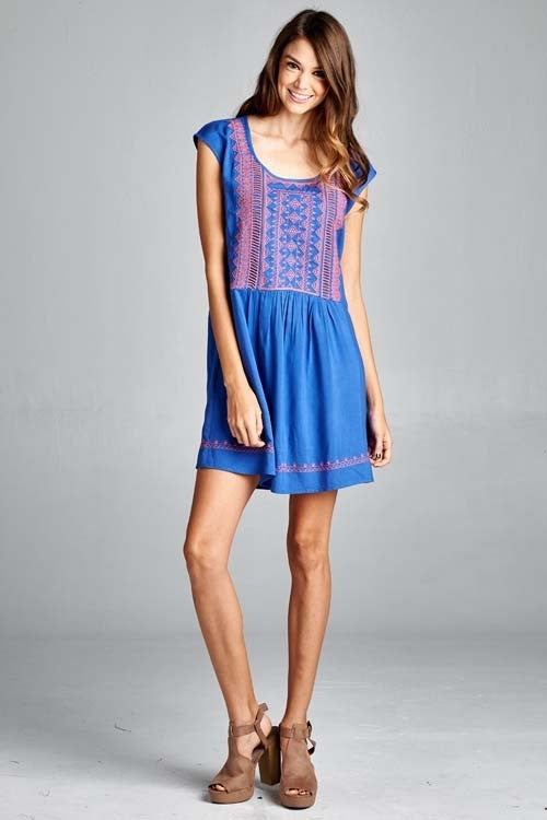 Image of Amparo Blue & Coral Embroidered Dress