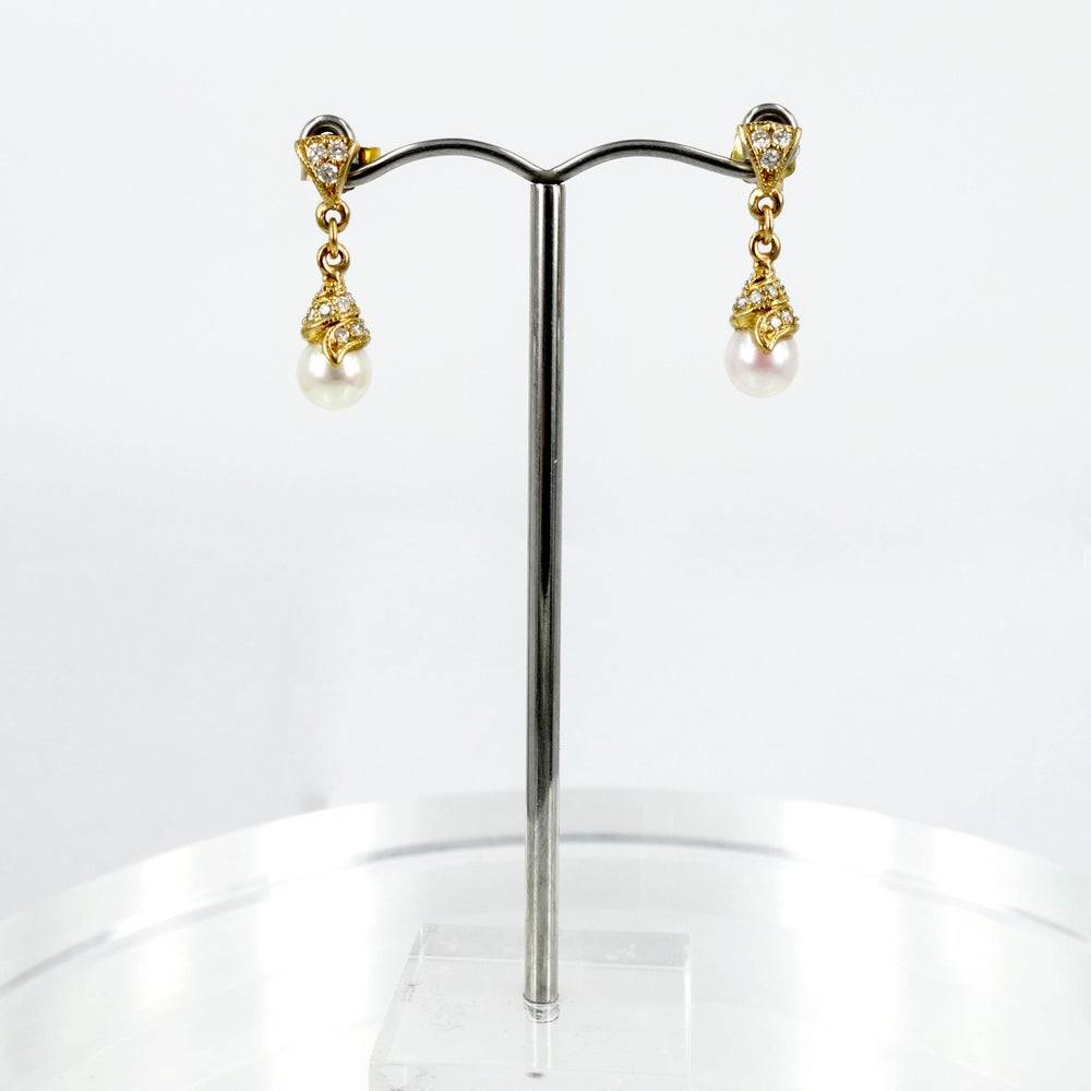Image of 18ct Yellow Gold Akoya Pearl & Diamond Drop Earrings