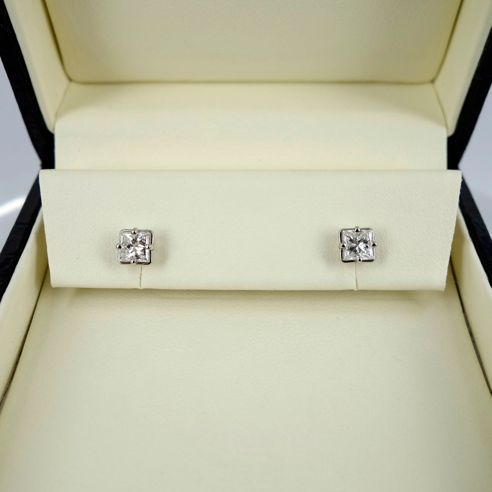 Image of Princes Cut Diamond Stud Earrings