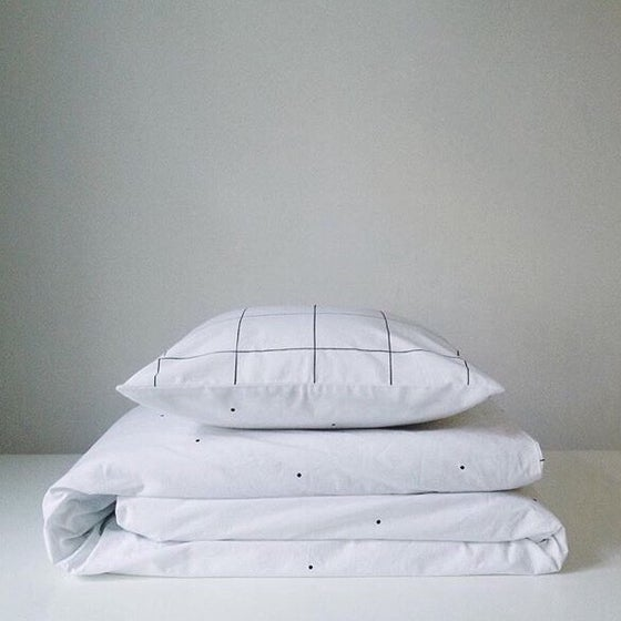 Image of dots grid duvet cover