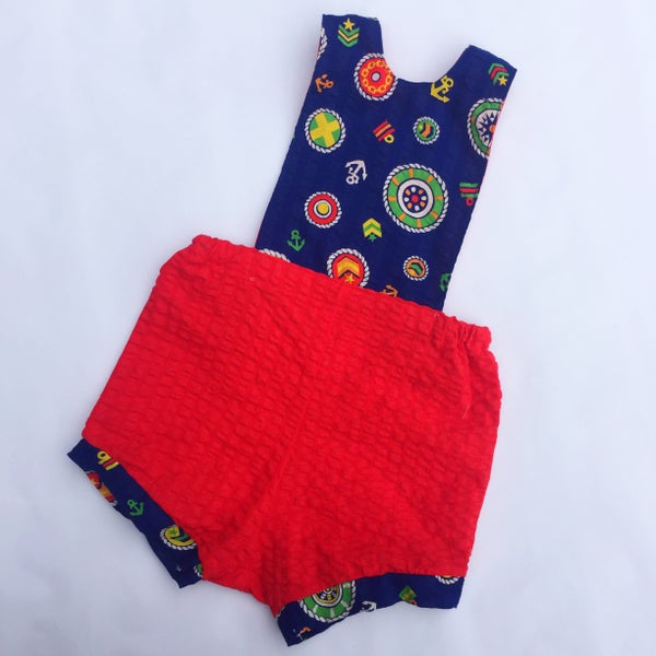 Image of Baby romper -size 00 - nautical seersucker
