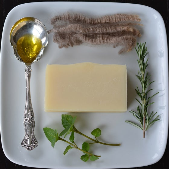 Image of Refresh collection- Luxury bath bar-sock soap-lanolin rich hand balm -Rosemary Mint