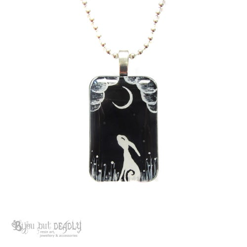 Image of Moon Gazing Hare Resin Pendant