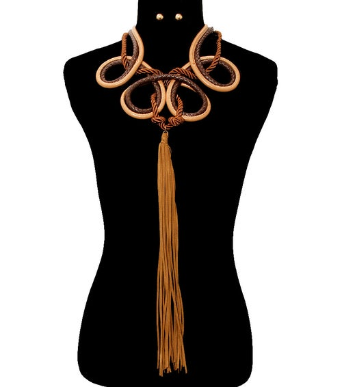 Image of Leather Looped Tassel Necklace Set