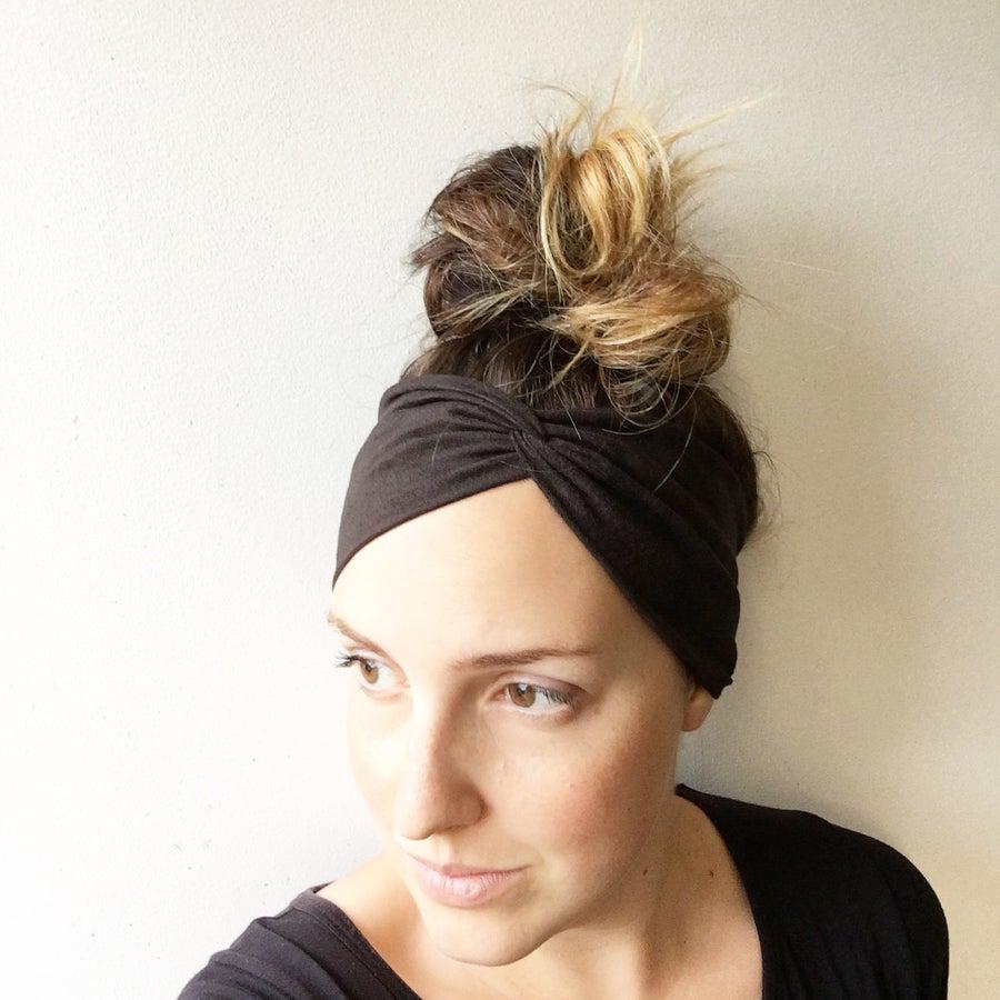 Image of Black Suede WideKnot Headband