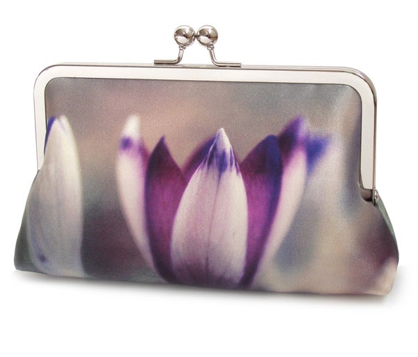 Crocus petals clutch bag, silk purse, purple flower handbag - Red Ruby Rose