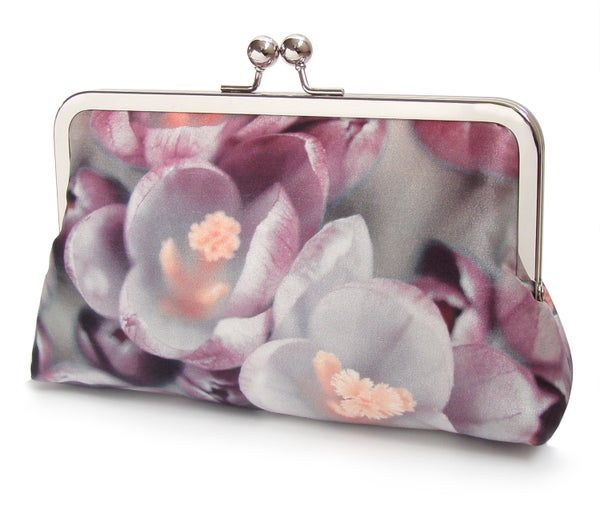 Crocus flower clutch bag, pink silk purse - Red Ruby Rose