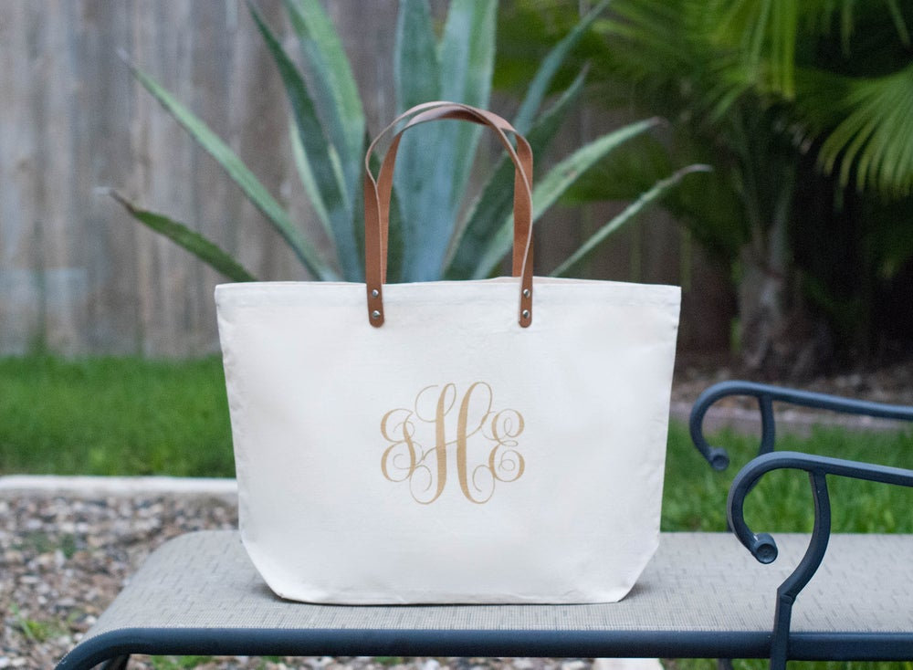 Image of Custom Gold Monogram Leather Strap Canvas Tote Bag