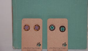Image of Little Black Dog Designs~ Cross Stitch Studs