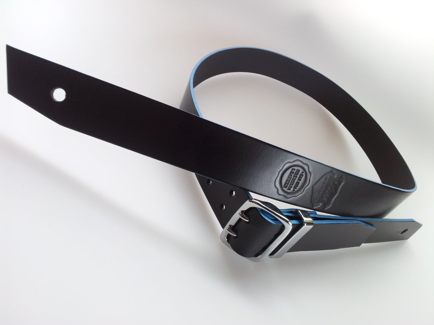 Image of Count Loop Chrome / Guitar Strap + Baby Blue Edge / Colour Options