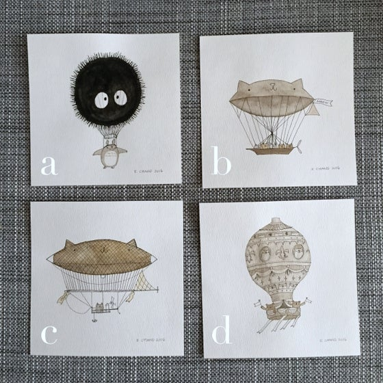 Image of dirigibles // original 5x5 illustrations